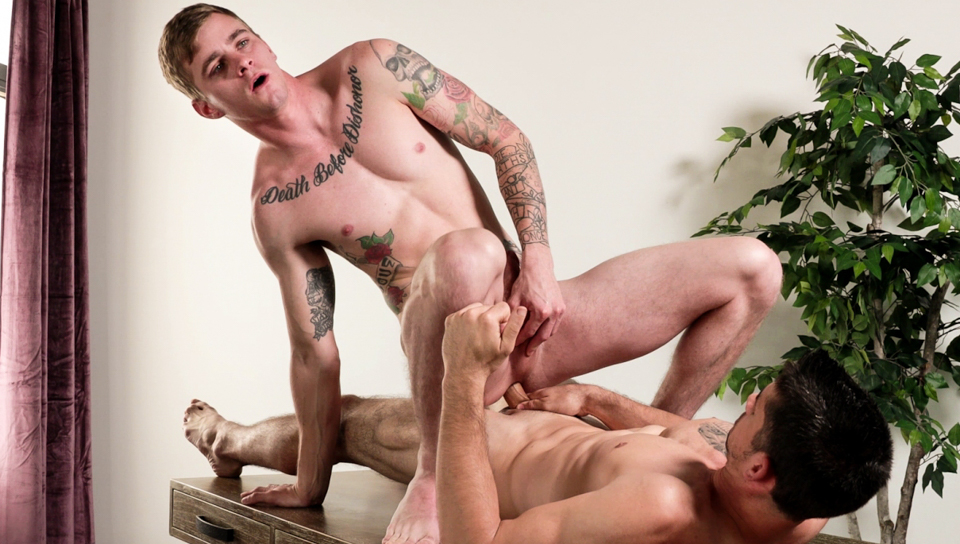 Competitive friends Ryan and Jason haves some anal fun.