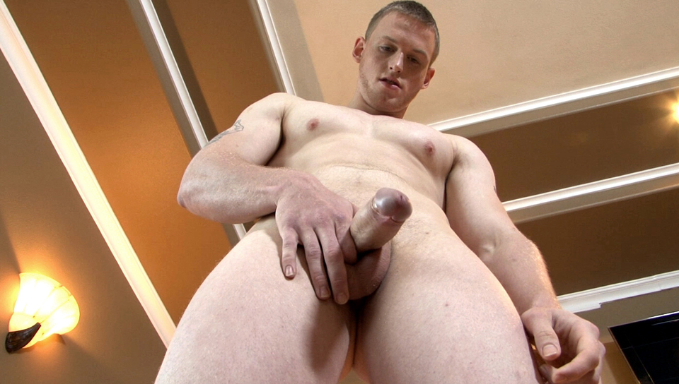 Brenden unloads his tight balls in a massive shooting orgasm