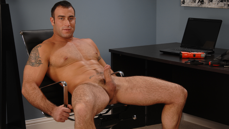 The general handyman his taking a break with his hard dick