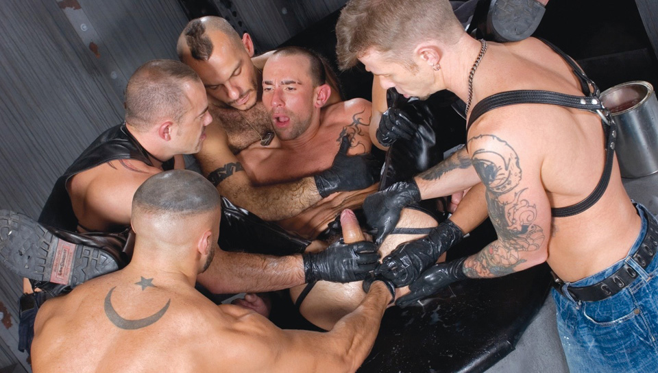 Chris Neal, Francois Sagat, Javier De Cerdo, Matthieu Paris gay fisting video from Club Inferno Dungeon
